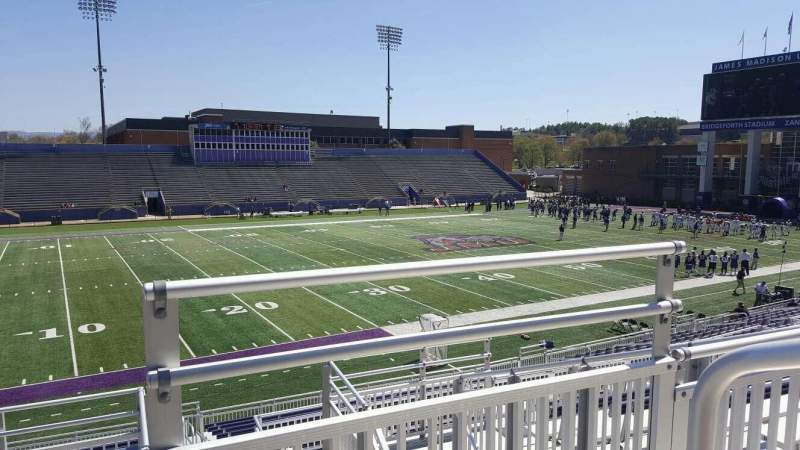Seating view for Bridgeforth Stadium Section 210 Row g Seat 1