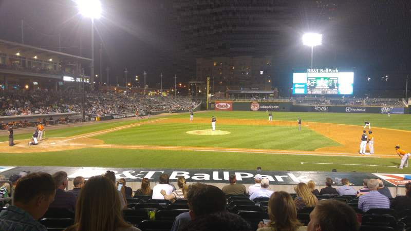Seating view for BB&T Ballpark (Charlotte) Section 107 Row Q Seat 9