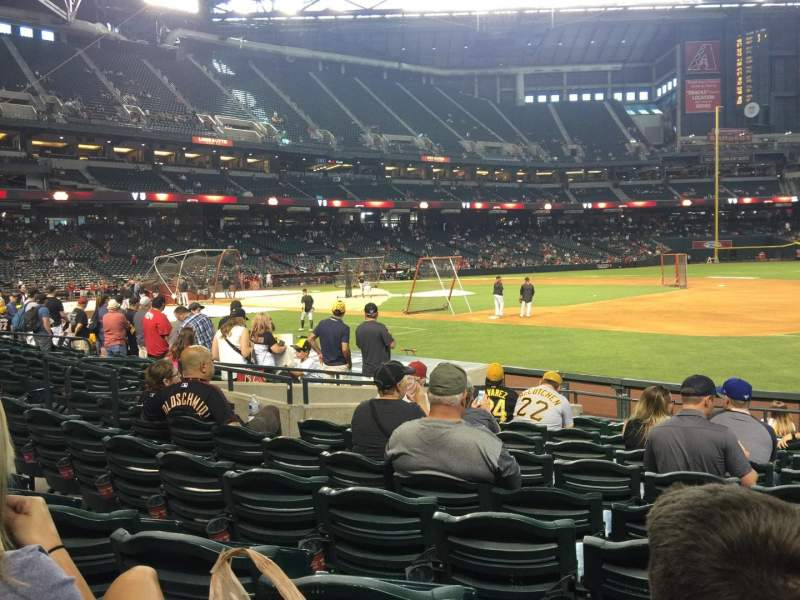 Seating view for Chase Field Section 114 Row 14 Seat 6