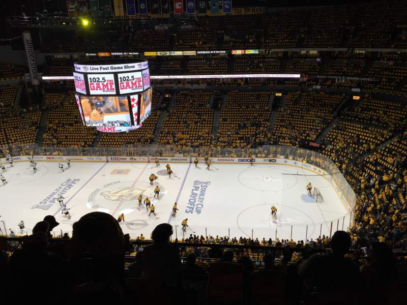 Seating view for Bridgestone Arena Section 327 Row H Seat 5