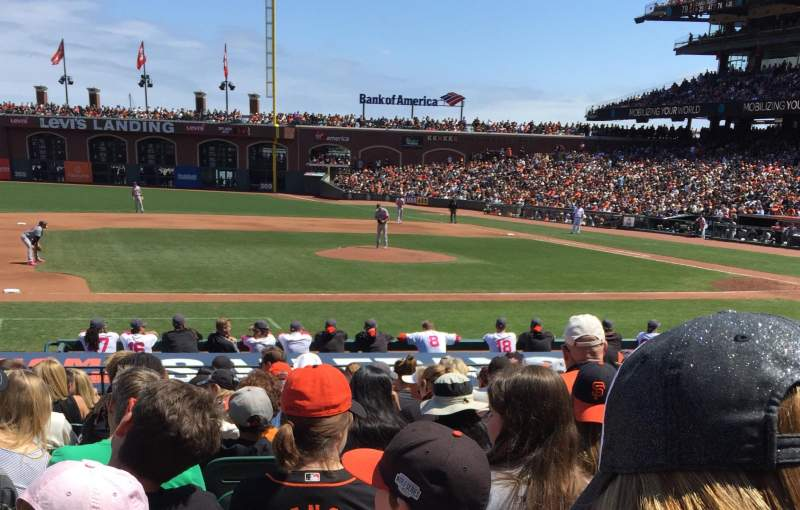 Seating view for AT&T Park Section 123 Row L Seat 9-11