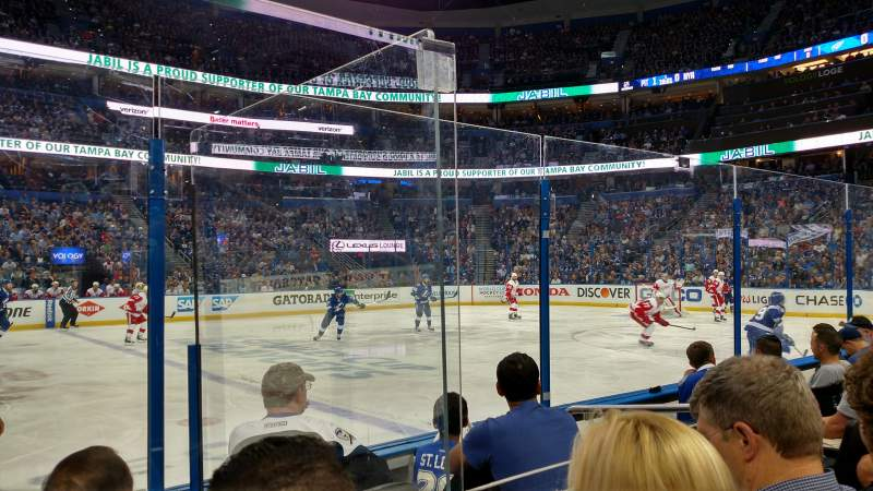 Seating view for Amalie Arena Section 116 Row D Seat 5
