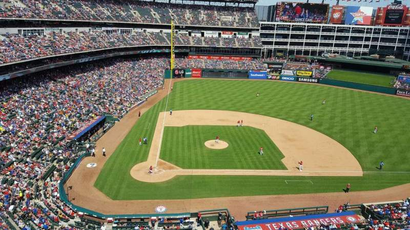 Seating view for Globe Life Park in Arlington Section 331 Row 1 Seat 4
