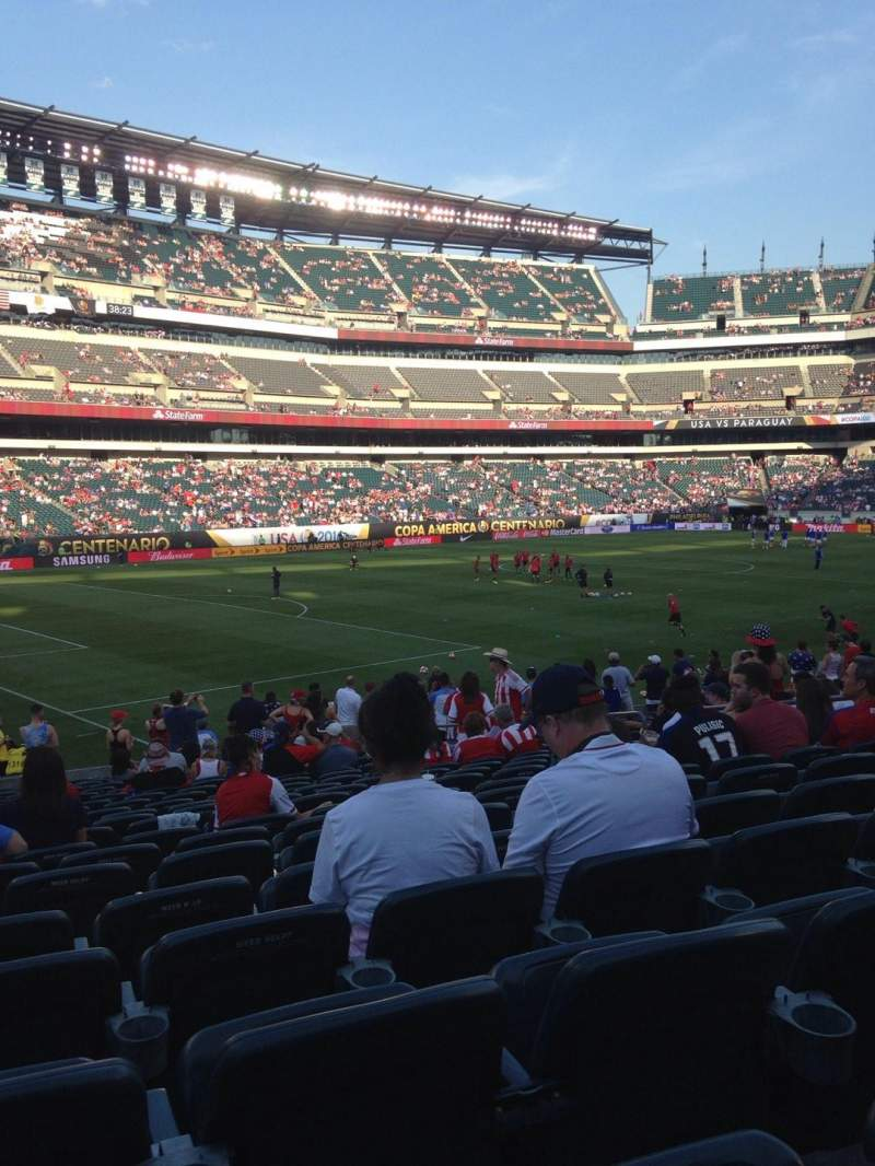 Seating view for Lincoln Financial Field Section 134 Row 21 Seat 12