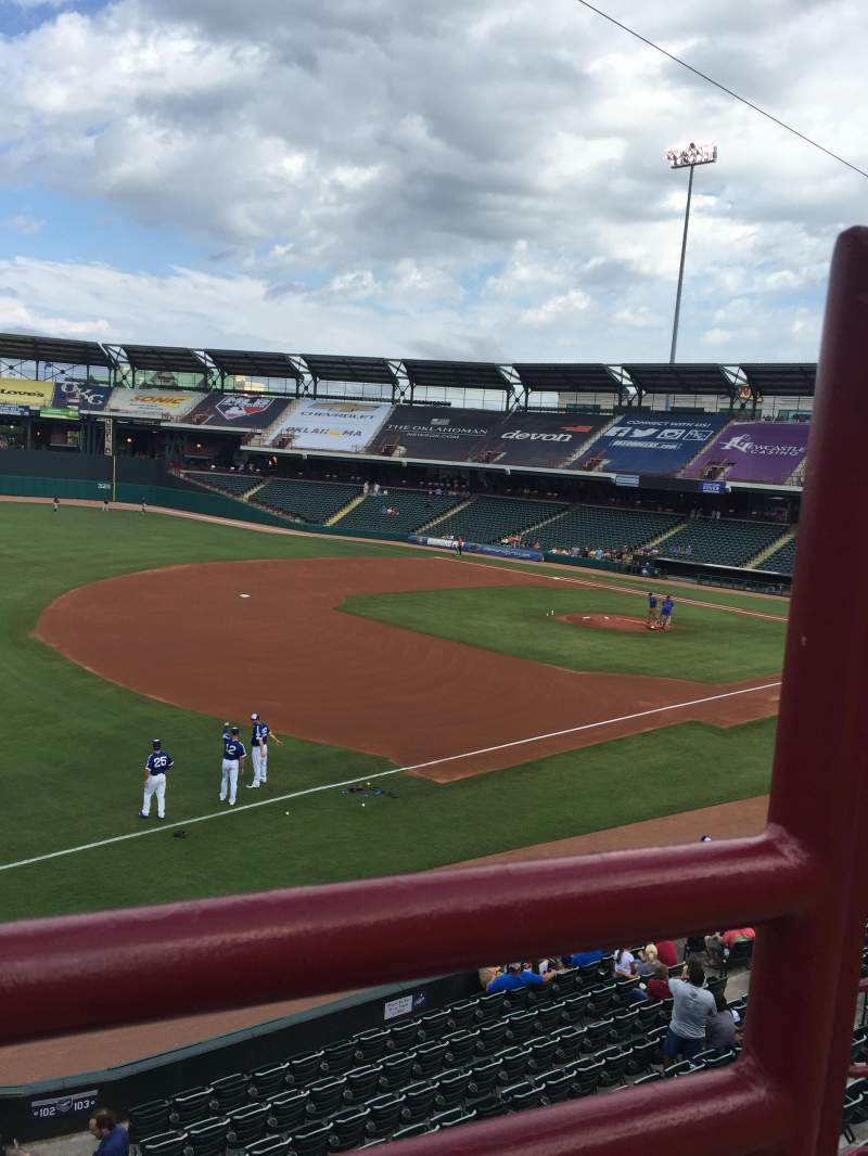 Seating view for Chickasaw Bricktown Ballpark Section 200 Row 1 Seat 2