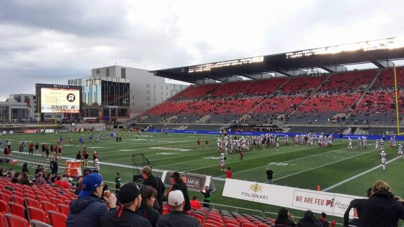 Seating view for TD Place Stadium Section M Row 17 Seat 20