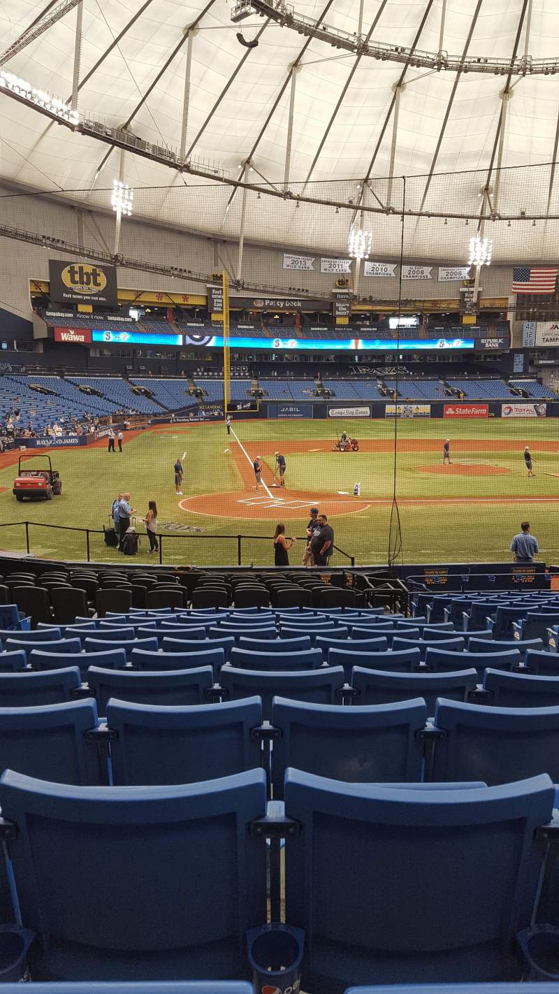 Seating view for Tropicana Field Section 108 Row X Seat 6
