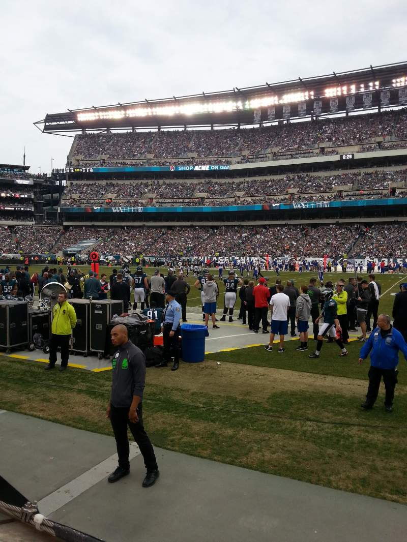 Seating view for Lincoln Financial Field Section 103 Row 1 Seat 16