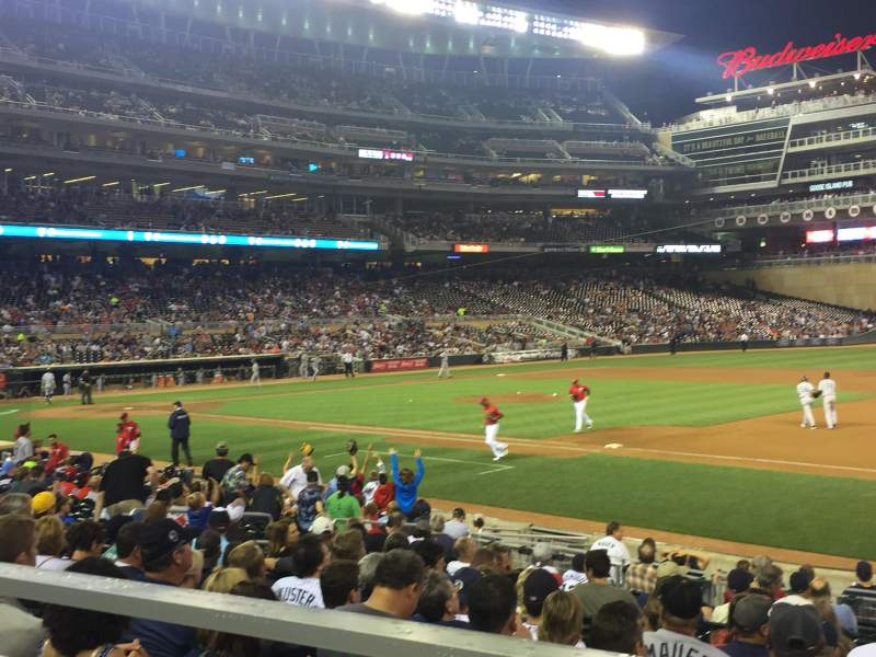 Seating view for Target Field Section 106 Row 1 Seat 8