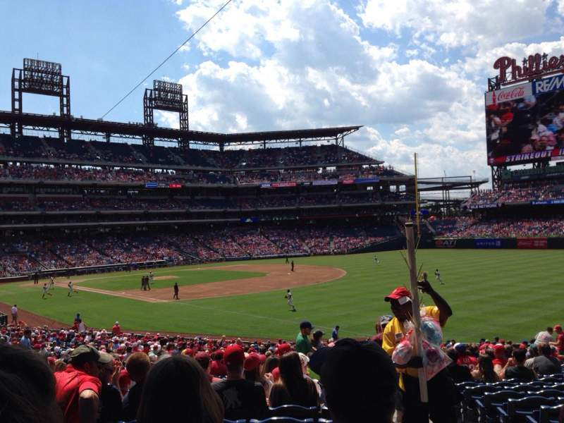 Seating view for Citizens Bank Park Section 110 Row 36 Seat 1