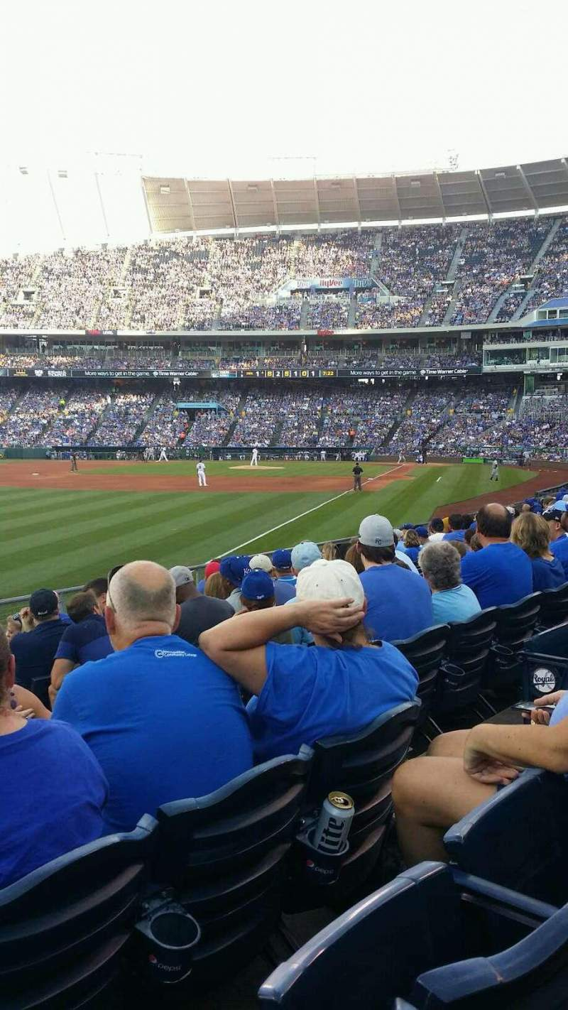 Seating view for Kauffman Stadium Section 109 Row P Seat 10