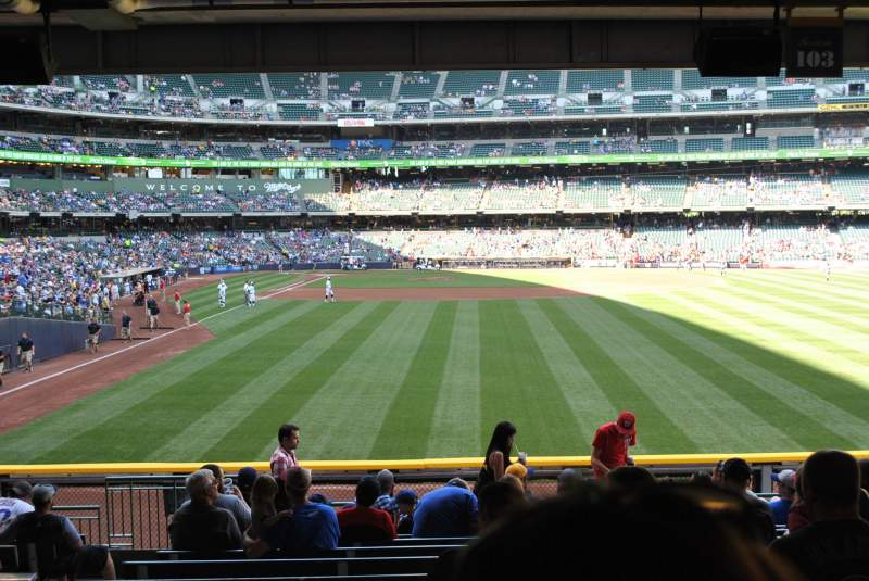 Seating view for Miller Park Section 103 Row 13 Seat 5