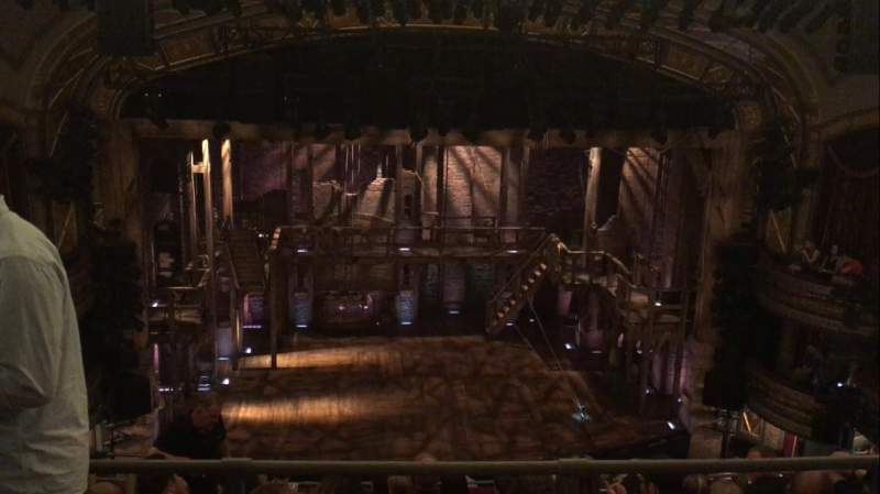 Seating view for Richard Rodgers Theatre Section Rear Mezzanine Row B Seat 112