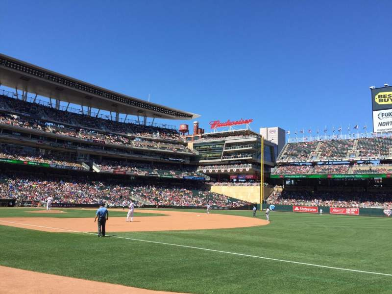 Seating view for Target Field Section 104 Row 4 Seat 10