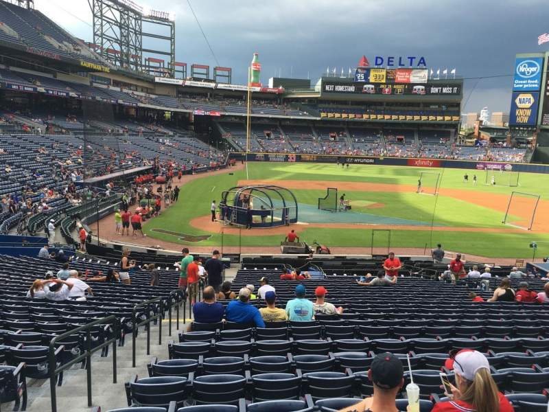 Seating view for Turner Field Section 105R Row 28 Seat 1
