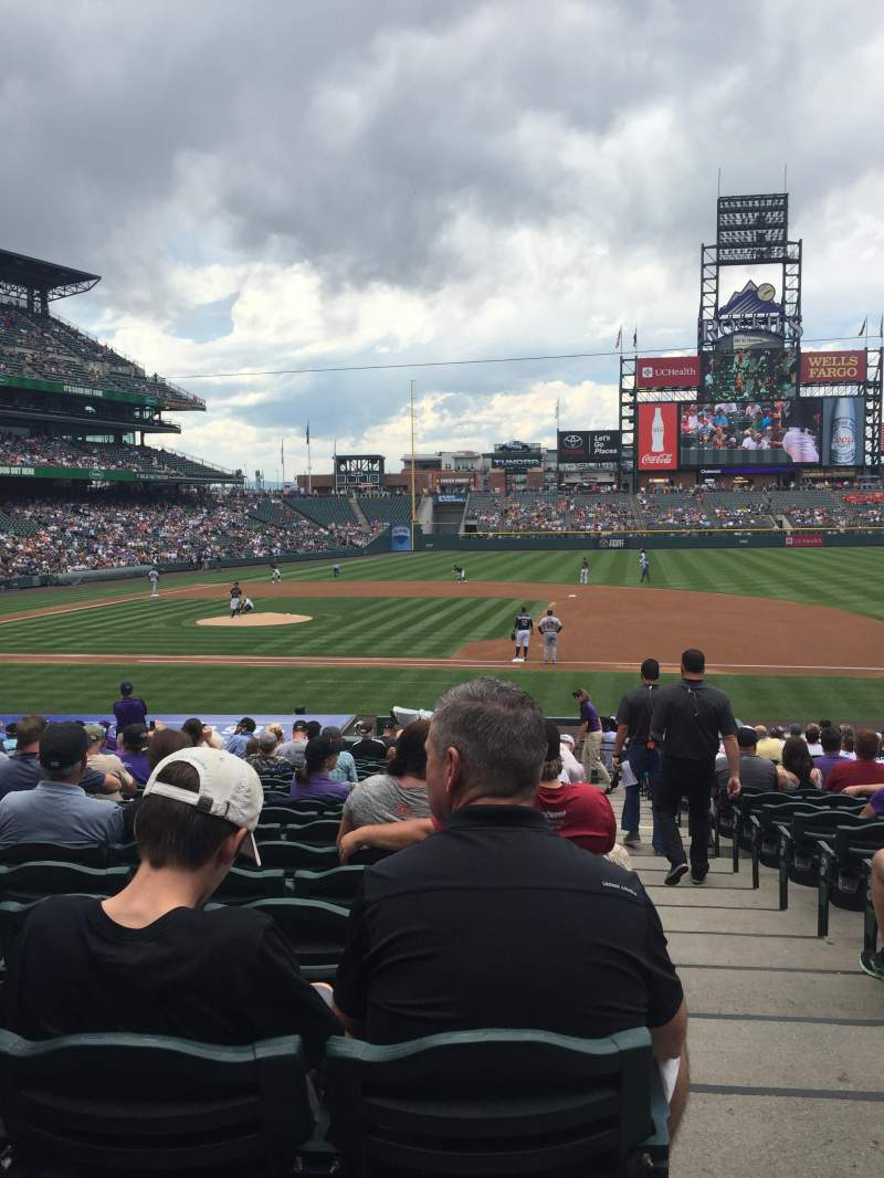 Seating view for Coors Field Section 122 Row 24 Seat 1