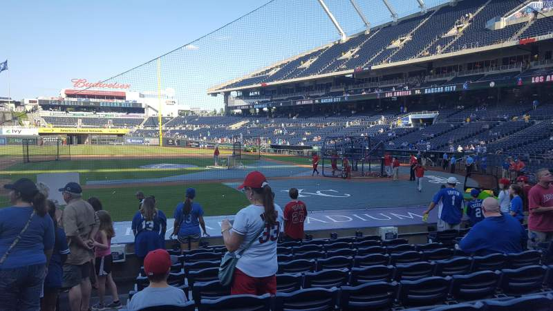 Seating view for Kauffman Stadium Section 121 Row K Seat 1