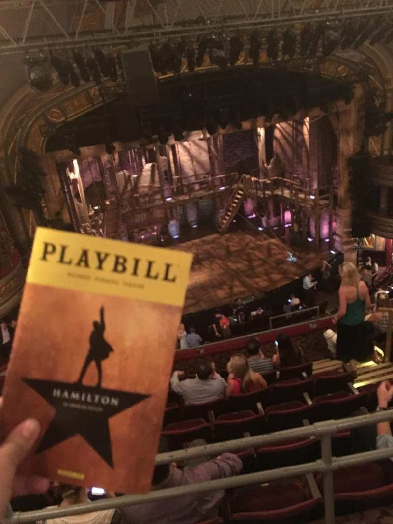 Seating view for Richard Rodgers Theatre Section Rear Mezz left Row A