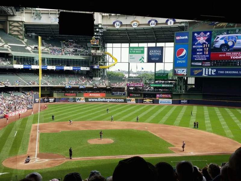 Seating view for Miller Park Section 215 Row 20 Seat 6