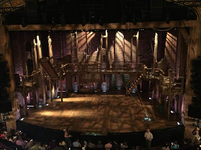 Seating view for Richard Rodgers Theatre Section Front center mezzanine Row C Seat 104