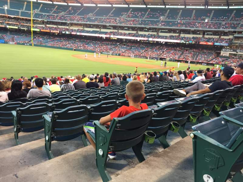 Seating view for Angel Stadium Section F105 Row V Seat 18