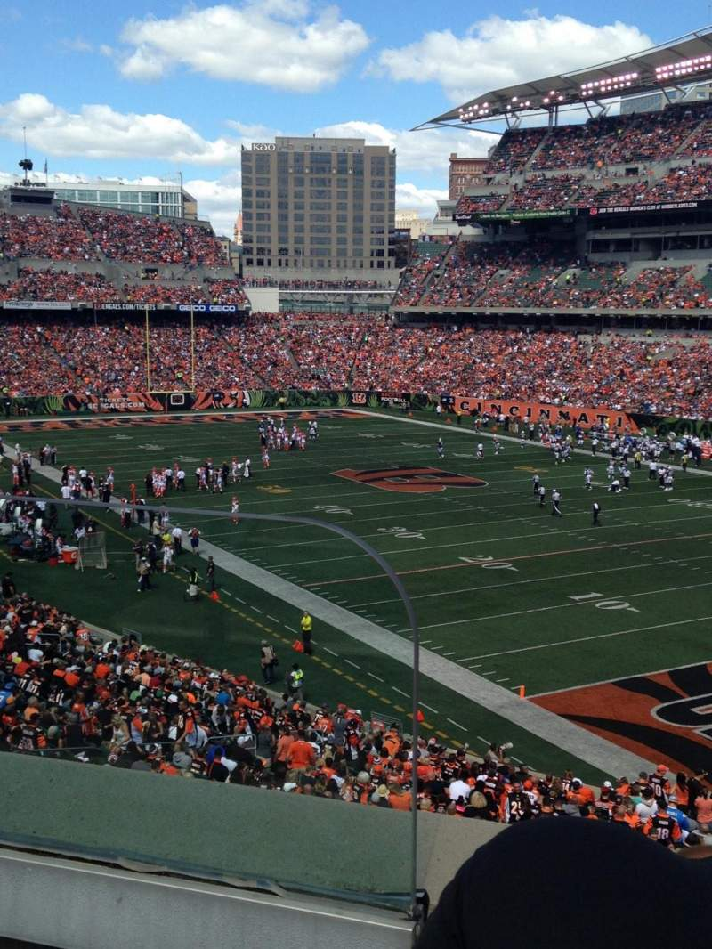 Seating view for Paul Brown Stadium Section 201 Row 2 Seat 1