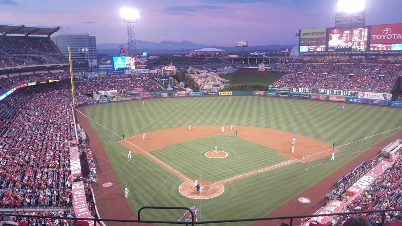 Seating view for Angel Stadium Section 420 Row G Seat 1