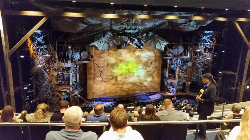 Seating view for Gershwin Theatre Section Rear Mezzanine L Row H Seat 11