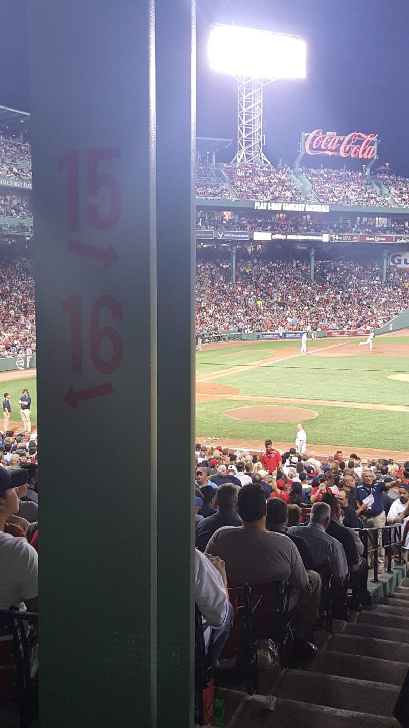 Seating view for Fenway Park Section Grandstand 15 Row 4 Seat 24