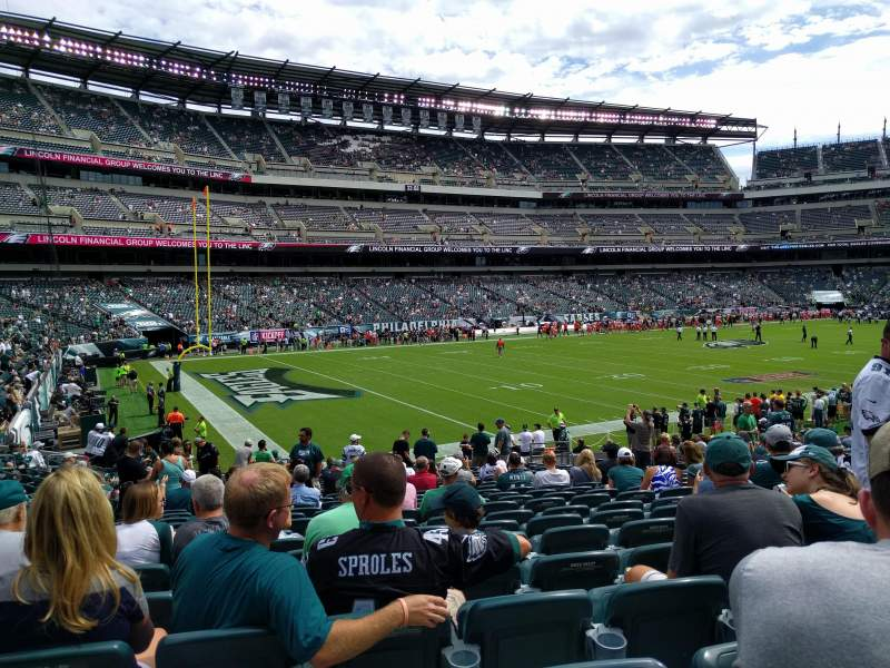 Seating view for Lincoln Financial Field Section 134 Row 21 Seat 11