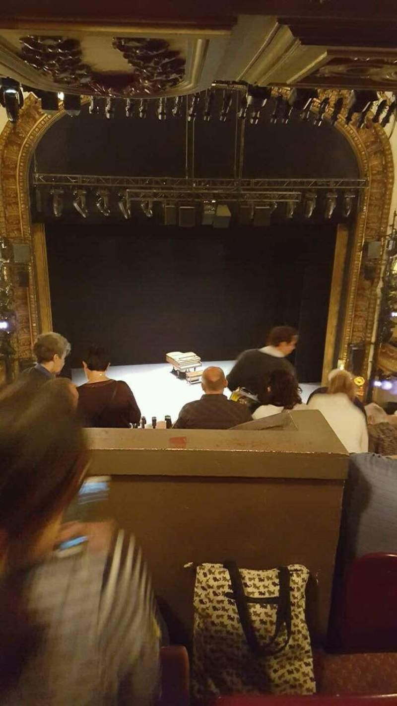 Seating view for Palace Theatre (Broadway) Section mezzanine (rear) Row L Seat 115