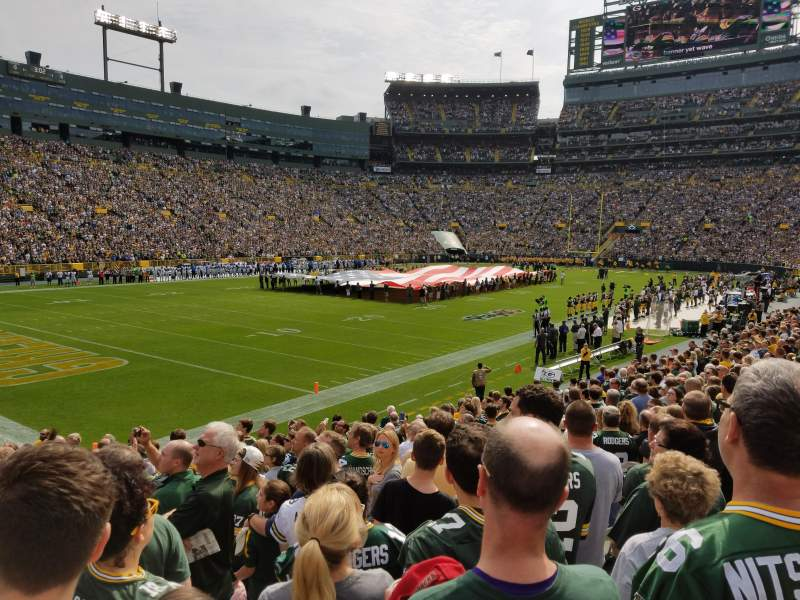 Seating view for Lambeau Field Section 108 Row 19 Seat 7