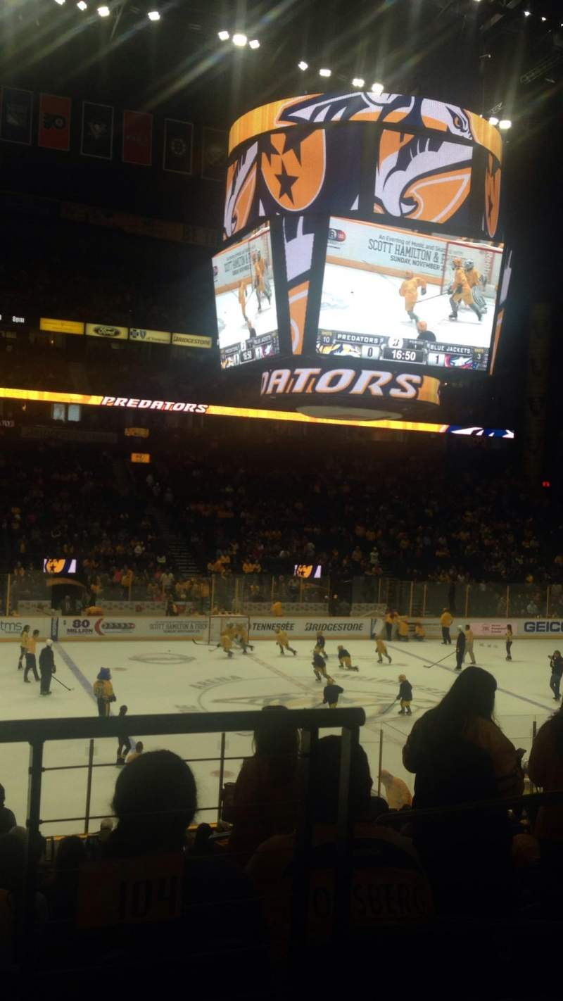 Seating view for Bridgestone Arena Section 104 Row J Seat 1