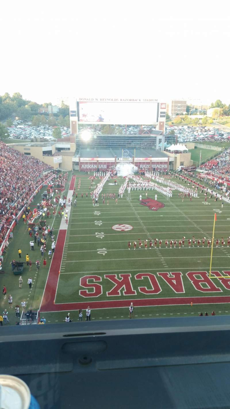 Seating view for Razorback Stadium Section 484 Row 1 Seat 8