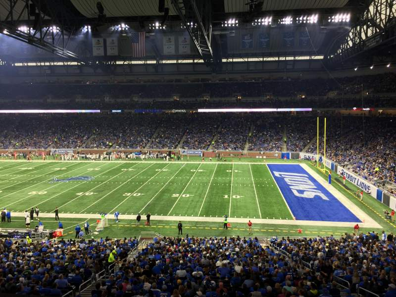 Seating view for Ford Field Section 210 Row 1 Seat 20