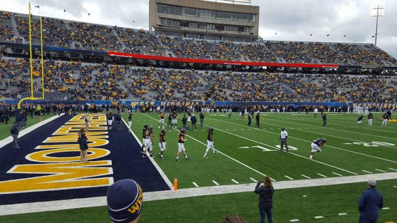 Seating view for Mountaineer Field Section 102 Row 3 Seat 16