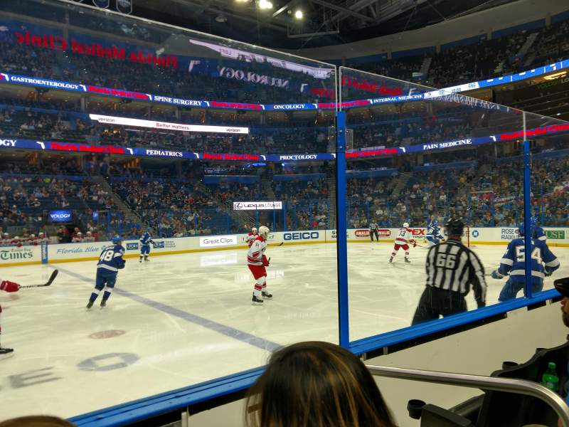 Seating view for Amalie Arena Section 116 Row C Seat 1