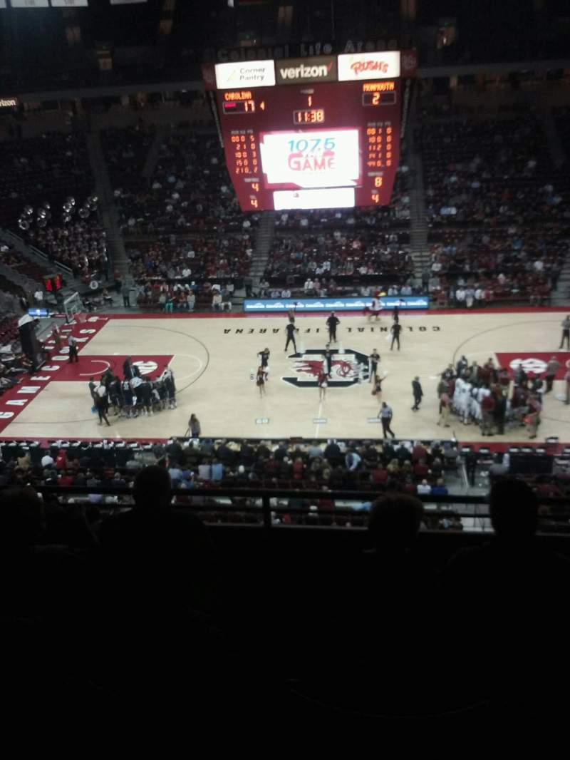 Seating view for Colonial Life Arena Section 208 Row 4 Seat 3