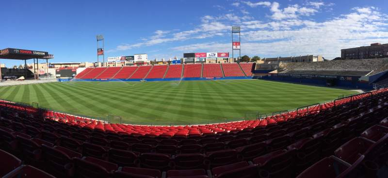Seating view for Toyota Stadium Section 108 Row 15 Seat 12