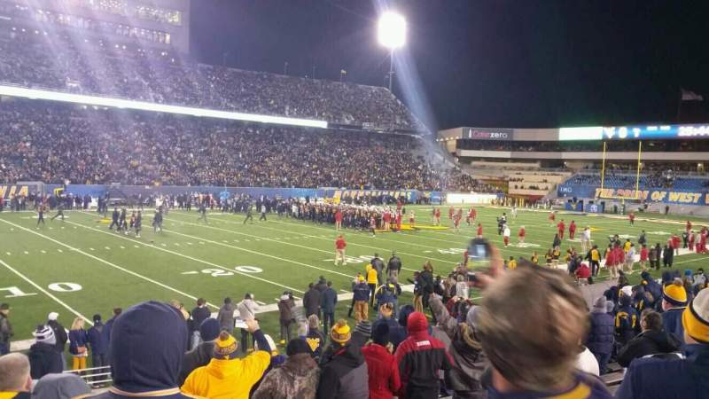 Seating view for Mountaineer Field Section 102 Row 12 Seat 1