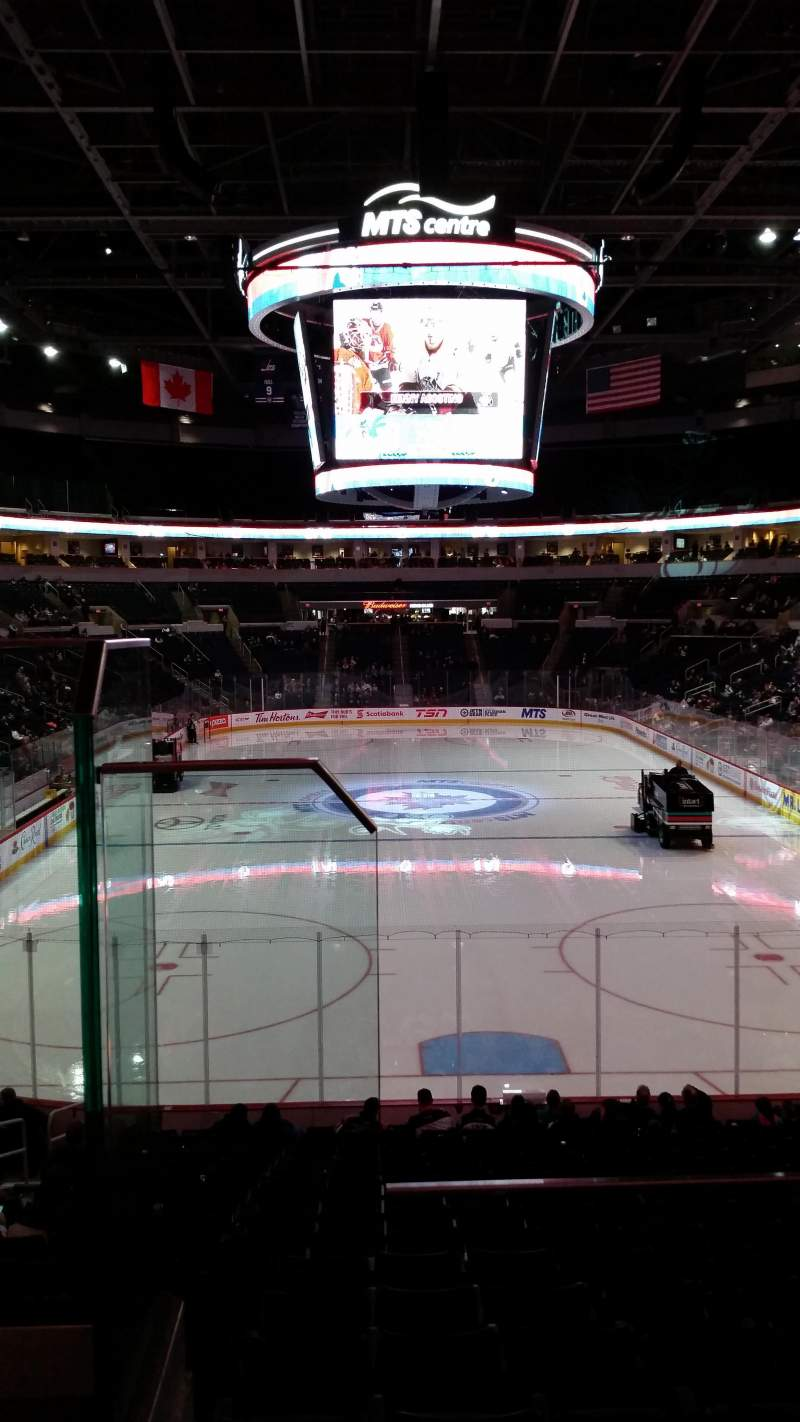 Seating view for Bell MTS Place Section 212 Row 2 Seat 18