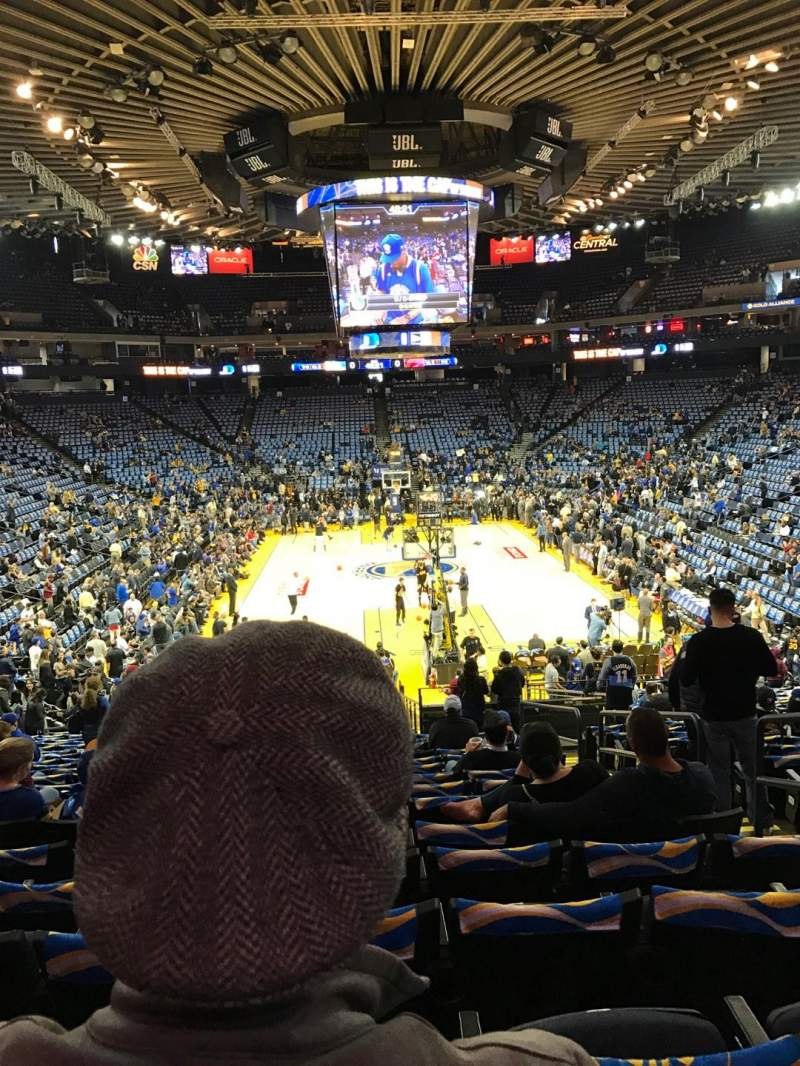 Seating view for Oracle Arena Section 108 Row 22 Seat 4