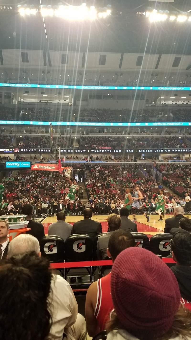 Seating view for United Center Section 102 Row 1 Seat 4