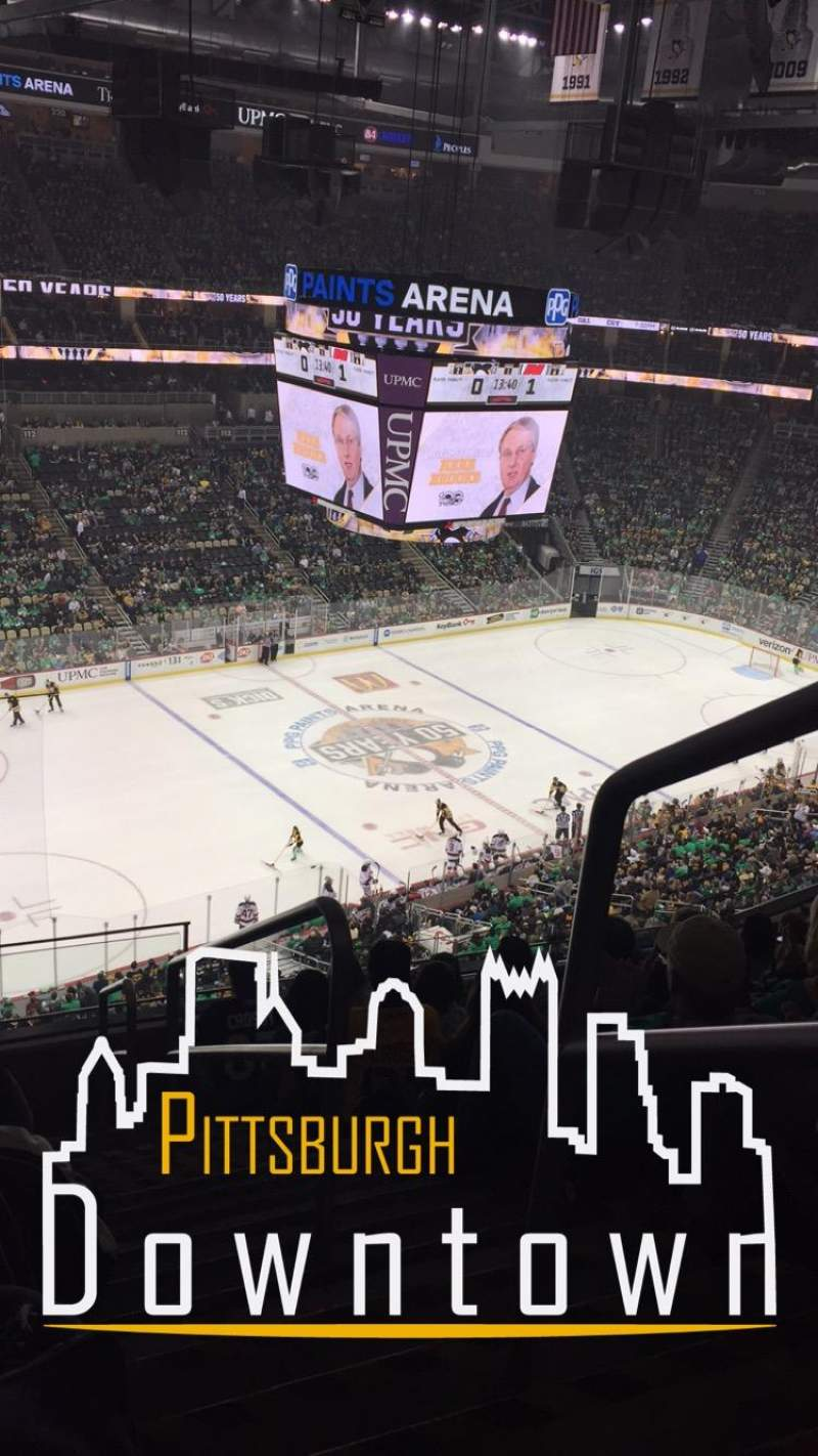 Ppg paints arena section 206 row h seat 1 pittsburgh for Hotels close to ppg paints arena