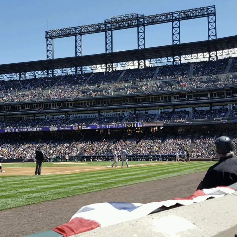 Seating view for Coors field Section 143 Row 1 Seat 7