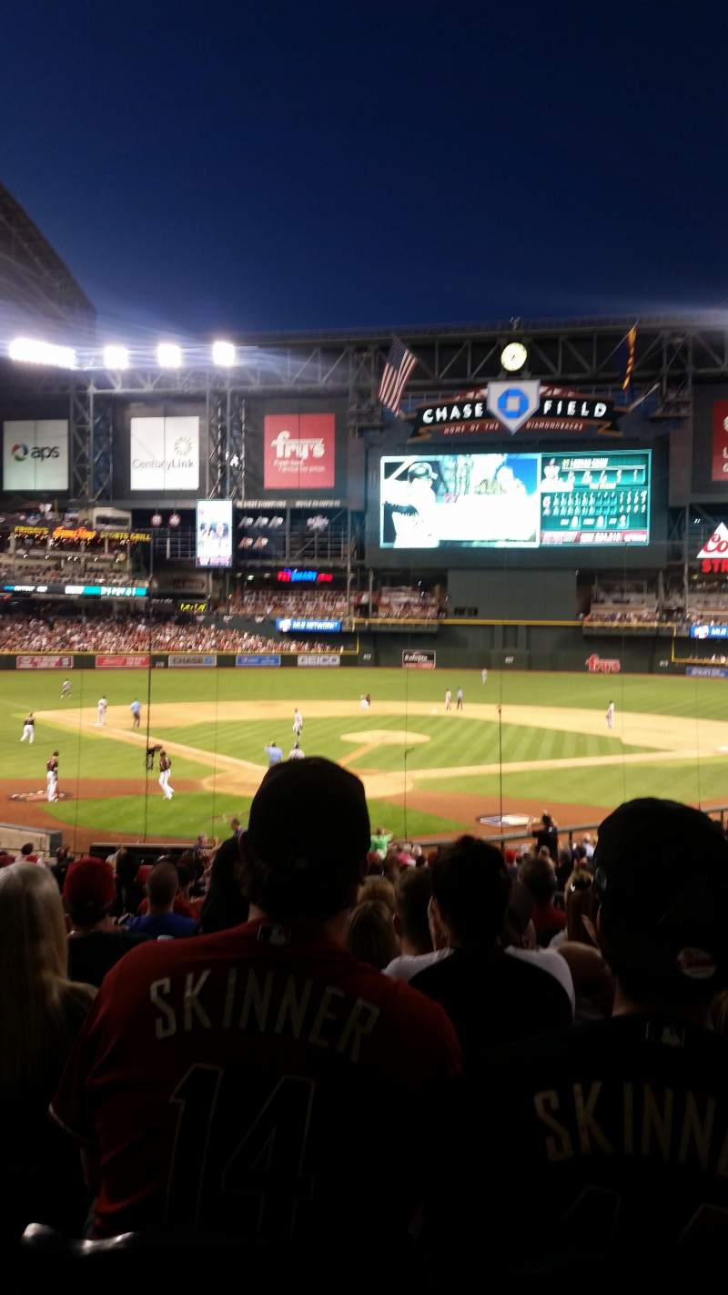 Seating view for Chase Field Section 121 Row 35 Seat 4 and 5