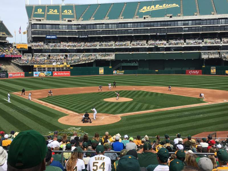 Seating view for Oakland Coliseum Section 116 Row 18 Seat 6