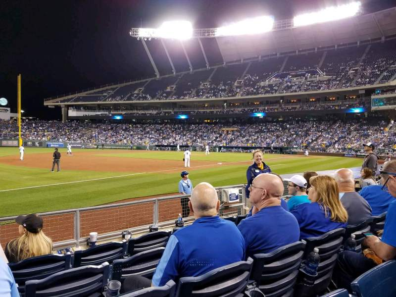 Seating view for Kauffman Stadium Section 115 Row F Seat 3