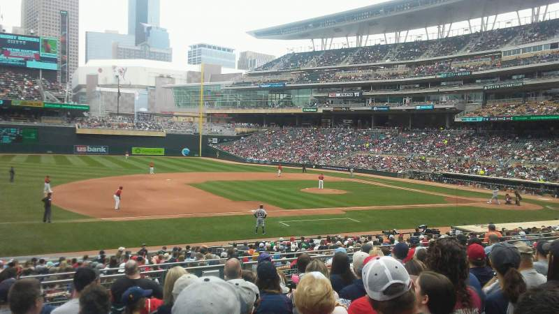 Seating view for Target Field Section 121 Row 10 Seat 20