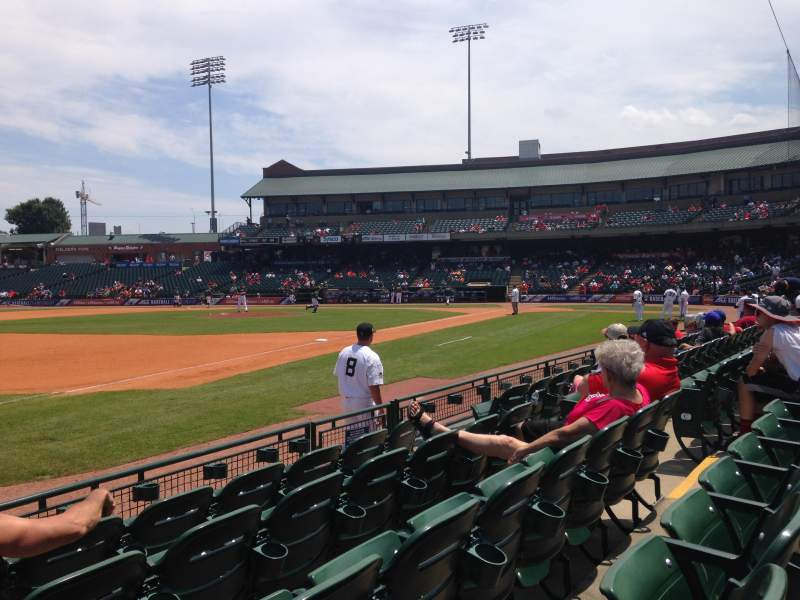 Seating view for Louisville Slugger Field Section 122 Row E Seat 10